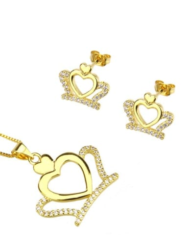 Brass Crown Cubic Zirconia Earring and Necklace Set
