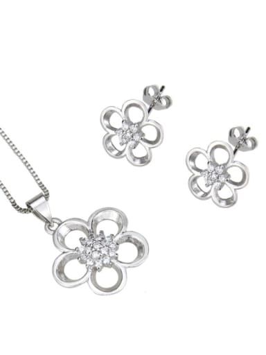 Platinum plating Brass Cubic Zirconia Dainty Flower  Earring and Necklace Set
