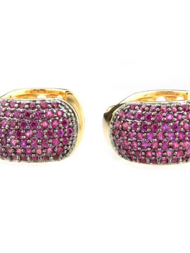 Gold Plated Red zircon Brass Cubic Zirconia Round Minimalist Clip Earring