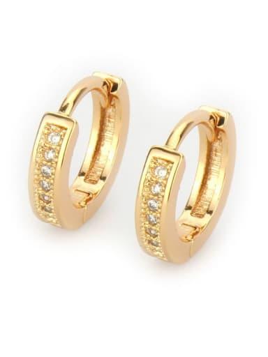 Gold plated white zircon Brass Cubic Zirconia Geometric Vintage Huggie Earring