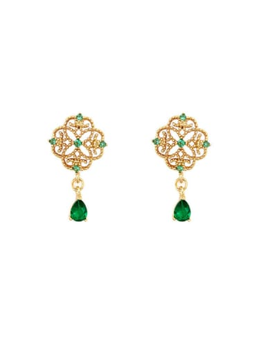 Copper Cubic Zirconia Flower Vintage Drop Earring