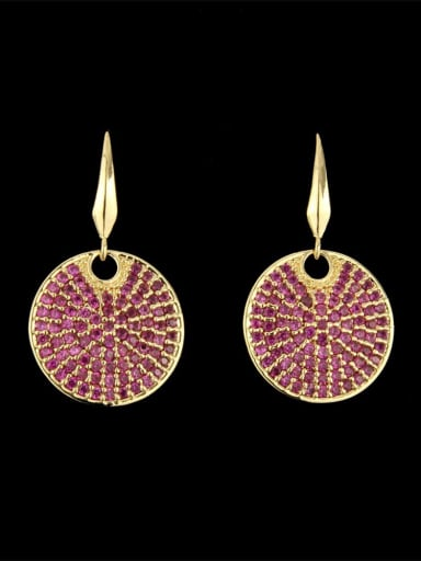 Gold Plated Red Brass Cubic Zirconia Round Dainty Hook Earring