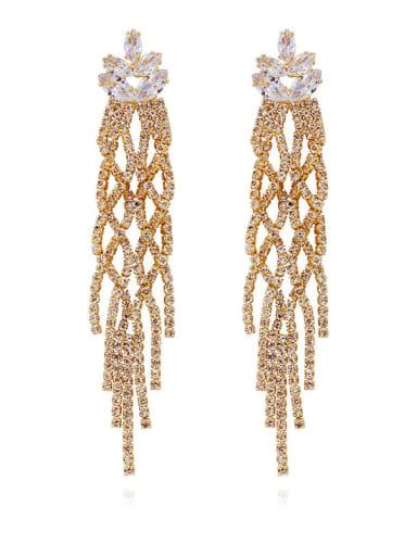 Copper Cubic Zirconia Tassel Luxury Cluster Earring
