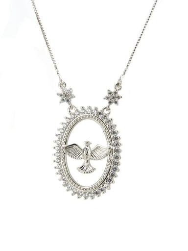 Platinum Brass Cubic Zirconia Bird Dainty Initials Necklace