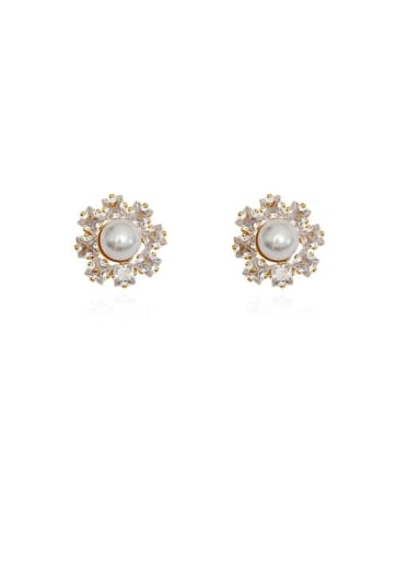 Copper Cubic Zirconia Flower Dainty Stud Earring