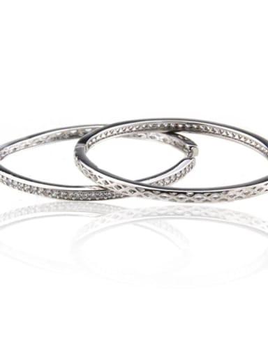 Platinum plating Brass Cubic Zirconia Round Minimalist Hoop Earring