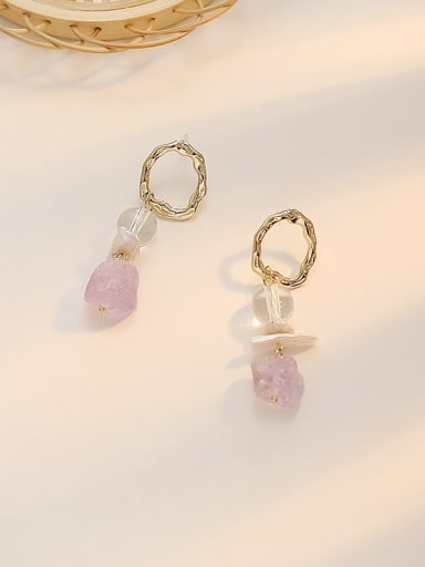 Purple crystal Copper Amethyst Geometric Minimalist Huggie Earring
