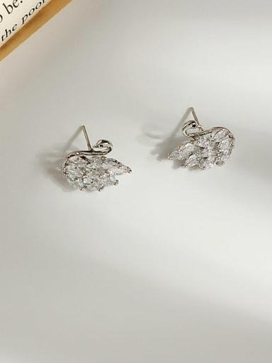 white K Copper Cubic Zirconia Swan Cute Stud Earring