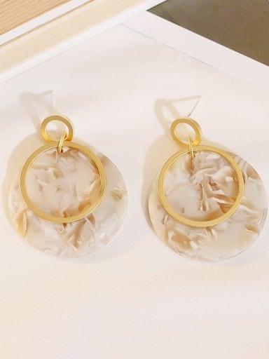 Dumb Gold Beige Copper Acrylic Round Bohemia Drop Earring