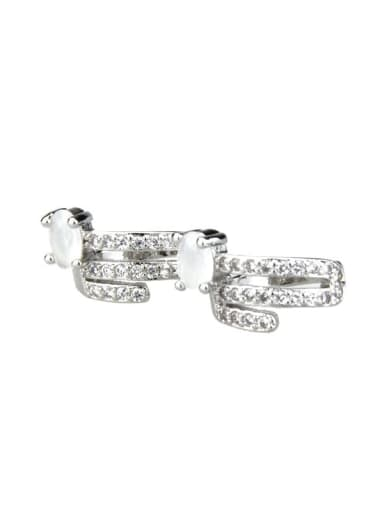 Platinum plated protein Brass Cubic Zirconia Round Dainty Huggie Earring