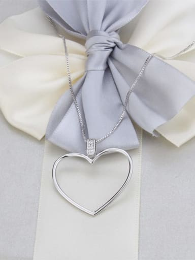 Platinum plating Brass Minimalist Hollow Heart Pendant  Necklace