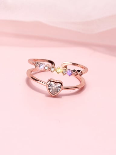Alloy+ Cubic Zirconia White Heart Trend Stackable Ring/Free Size Ring