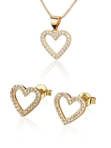 Brass Cubic Zirconia  Minimalist Heart Earring and Necklace Set
