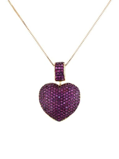 Gold Plated Red zirconium Brass Rhinestone Heart Dainty   Pendant Necklace