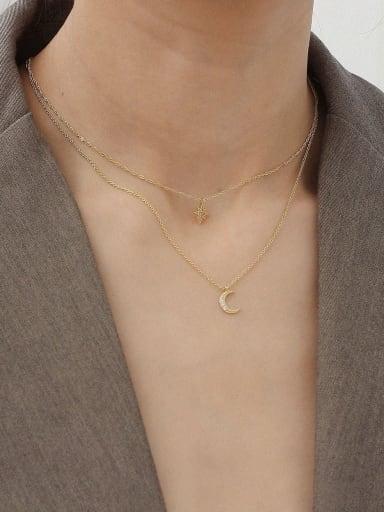 Copper Alloy Cubic Zirconia White Star Trend Multi Strand Necklace