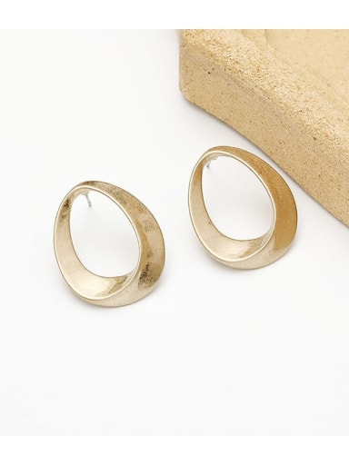 Sargent Copper Hollow Oval Minimalist Stud Earring