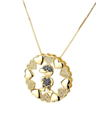 Blue zirconium boy Brass Cubic Zirconia Heart Dainty Necklace