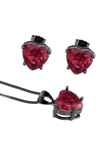 Black red plated explosive stone Brass  Cubic Zirconia Heart  Earring and Necklace Set