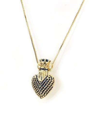 blue Brass Cubic Zirconia Heart Dainty Necklace
