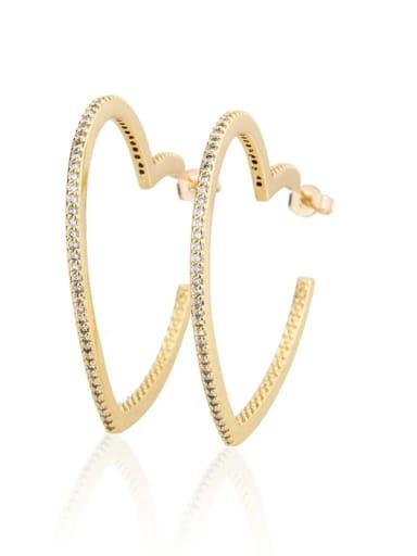 Brass Cubic Zirconia Heart Dainty Hoop Earring
