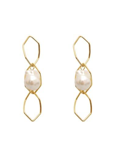 Copper Imitation Pearl Hollow Geometric Minimalist Drop Earring