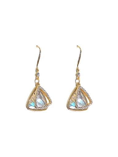 Mixed Metal Rhinestone White Triangle Classic Drop Earring