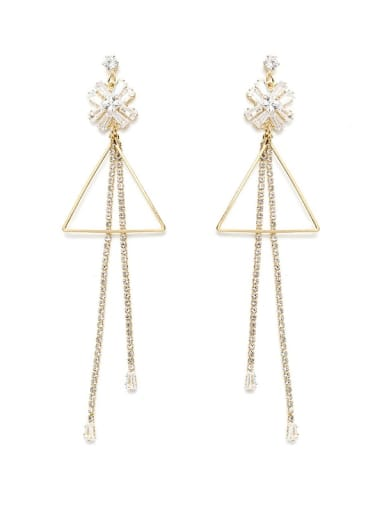 Copper Cubic Zirconia Tassel Minimalist Threader Earring