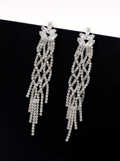 White K Copper Cubic Zirconia Tassel Luxury Cluster Earring