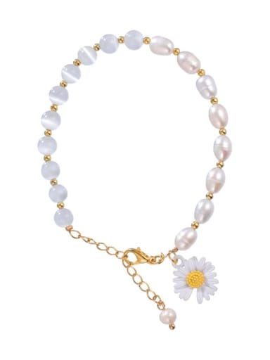 Alloy Imitation Pearl Flower Cute Adjustable Bracelet