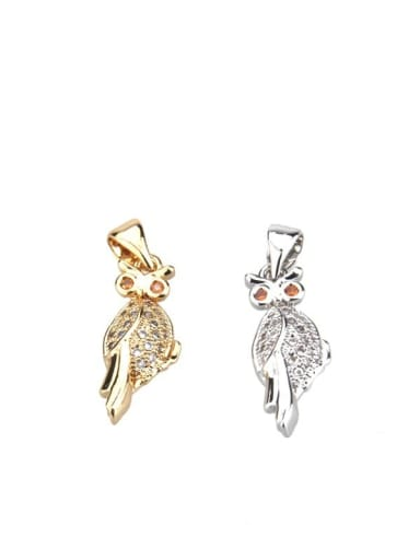 Brass Cubic Zirconia Owl Dainty Necklace