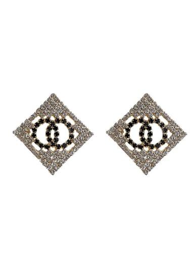 Mixed Metal Cubic Zirconia Black Geometric Trend Stud Earring
