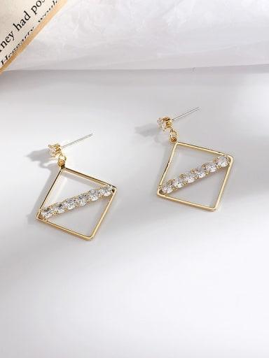 Copper Cubic Zirconia Square Minimalist Stud Earring