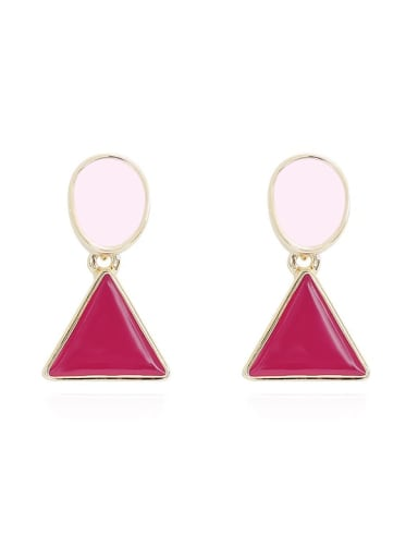 Copper Enamel Triangle Minimalist Stud Earring