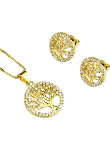 gold-plated Brass Cubic Zirconia Minimalist Tree Earring and Necklace Set