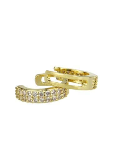 gold-plated Brass Cubic Zirconia Round Minimalist Hoop Earring