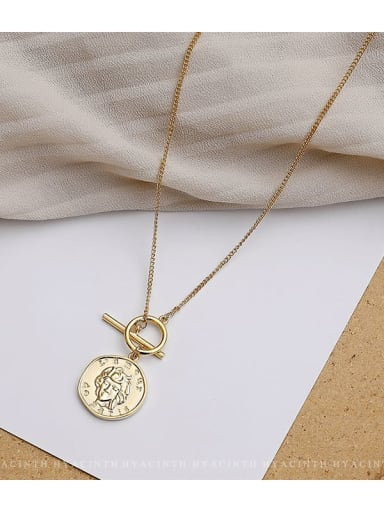 Zinc Alloy Coin Trend Initials Necklace