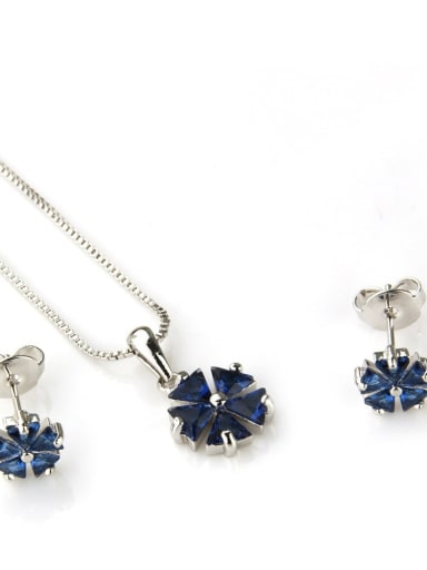 Platinum blue zirconium plating Brass Dainty Clover Cubic Zirconia Earring and Necklace Set