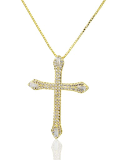 Golden white Brass Cubic Zirconia Cross Pendant Necklace