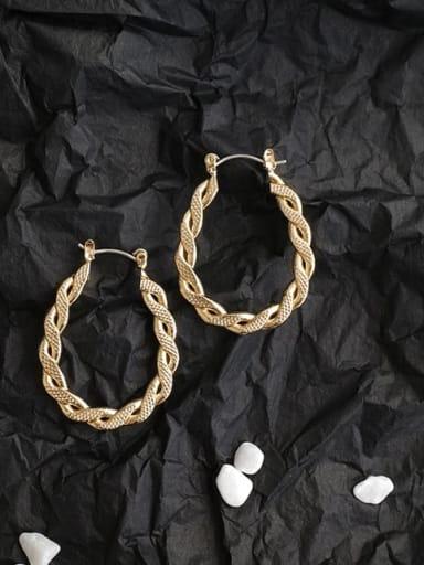 Mixed Metal Gold Geometric Classic Hoop Earring