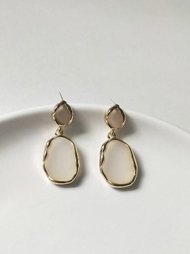 14K  gold white Copper Enamel Geometric Minimalist Stud Earring
