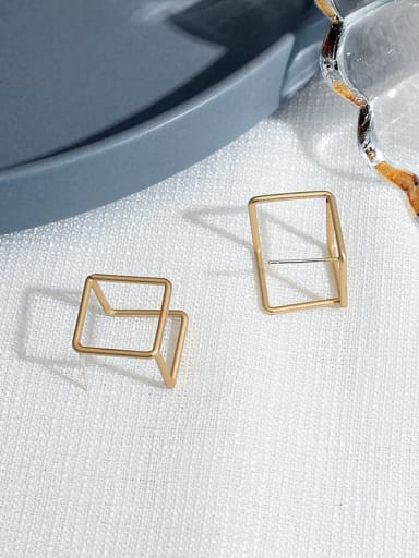 Dumb gold Copper Hollow Square Minimalist Stud Earring