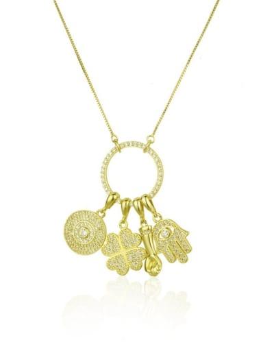 Brass Cubic Zirconia White Key Dainty Necklace