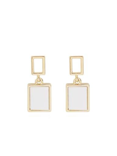 Copper Enamel Geometric Minimalist Drop Earring