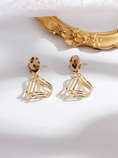 Beige Leopard Copper Leopard Minimalist  Hollow Triangle Stud Earring