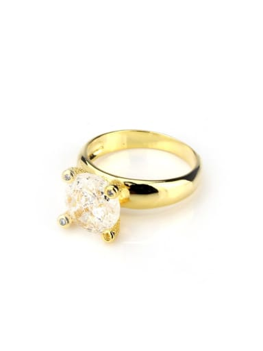 Gold plated white Brass Opal Geometric Vintage Band Ring