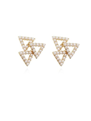 Copper Imitation Pearl Triangle Minimalist Stud Earring