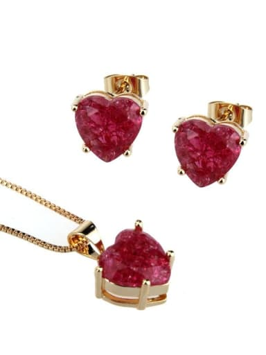 Gold Plated Red explosive stone Brass Cubic Zirconia Dainty Heart  Earring and Necklace Set