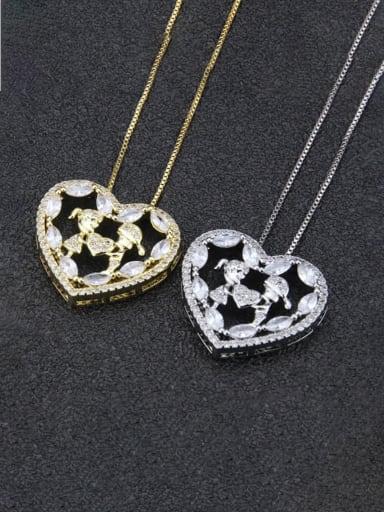 Brass Cubic Zirconia Heart Dainty Initials Necklace