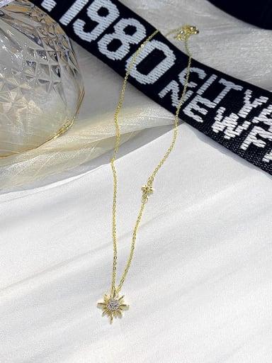 Zinc Alloy Rhinestone White Star Dainty Necklace