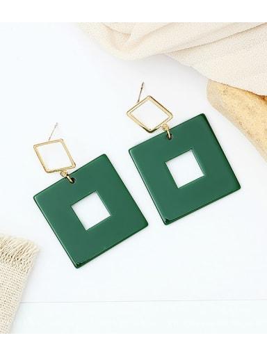 green Copper Acrylic Geometric Minimalist Drop Earring